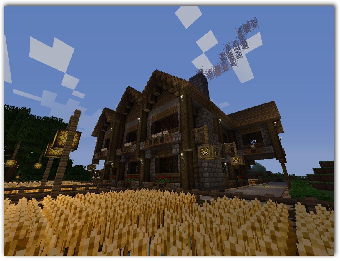 Casas de madera de dos plantas de minecraft planos
