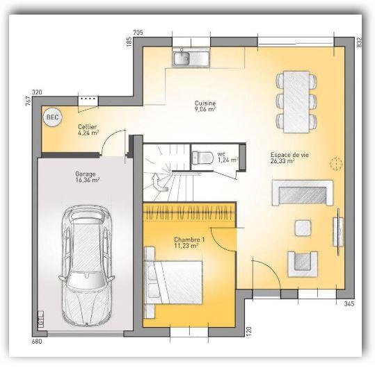 planos de casa de un solo piso de 140 metros cuadrados