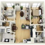 Departamento cuadrado con 2 dormitorios