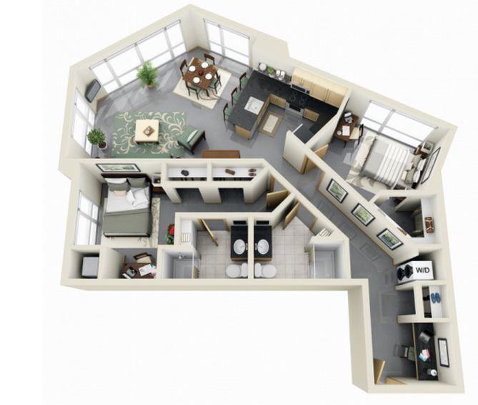 Departamento moderno de 2 habitaciones y 2 baños