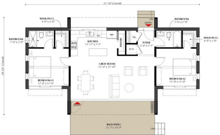 plano de casa sin cochera
