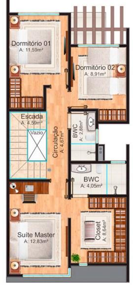 Planos de casas largas de 2 pisos con medidas en metros