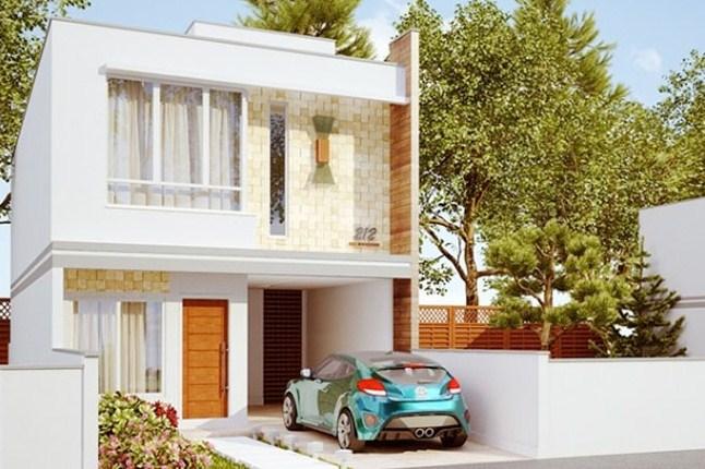Planos de casas largas de dos pisos