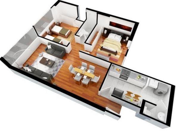 Planos de departamento 65 metros cuadrados superficie