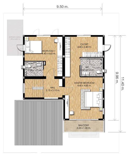 Planos de duplex modernos 160 m2