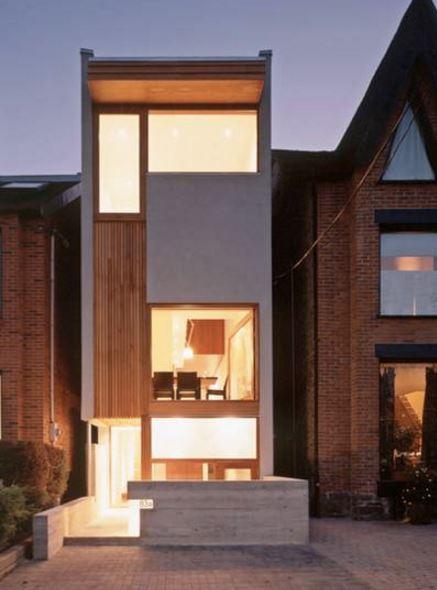 casas modernas construidas entre medianeras