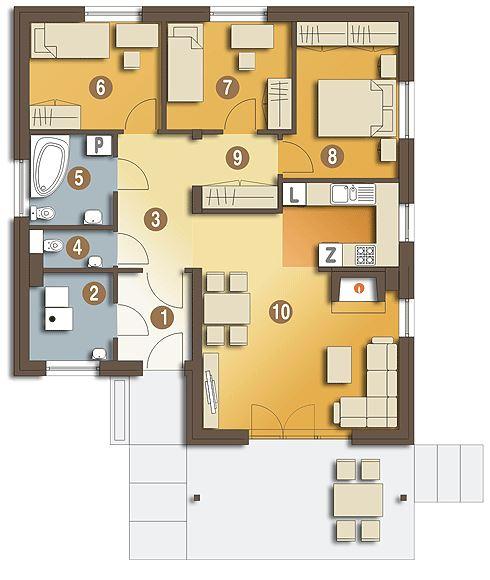 Plano de casa hermosa de 100 metros cuadrados garden - Plano de casa ...