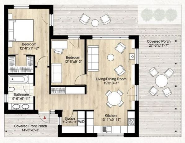 Planos y fachadas de casas modernas de 72m2