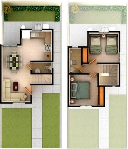 Caba as de dos pisos peque as for Planos de casas pequenas y bonitas