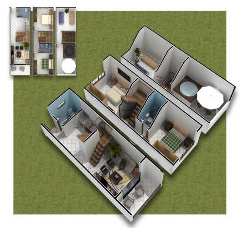 Diseños de casas de tres pisos de 100m2