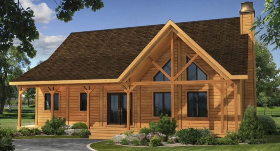 Fachadas de casas pequeñas de teja y madera