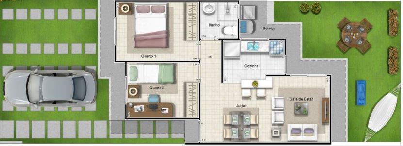 Planos de casa pequeñas con patio trasero