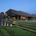 Casa moderna minimalista con diseño de interiores y prado verde en 2 pisos