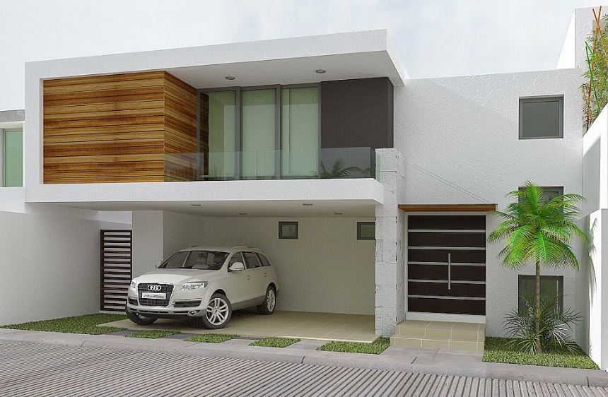 Fachadas de casas de 2 plantas con losas bonitas