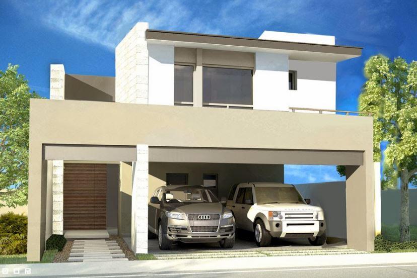 Fachadas de casas de dos plantas con losas bonitas