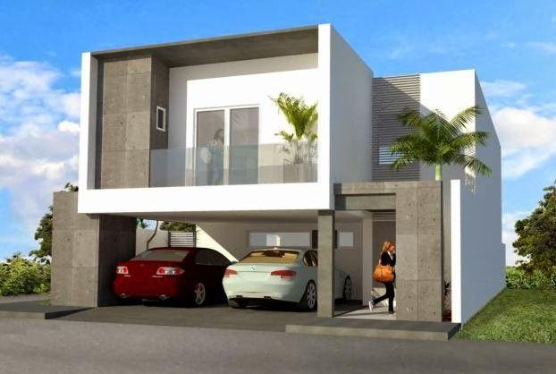 Fachadas de casas de dos plantas con losas modernas