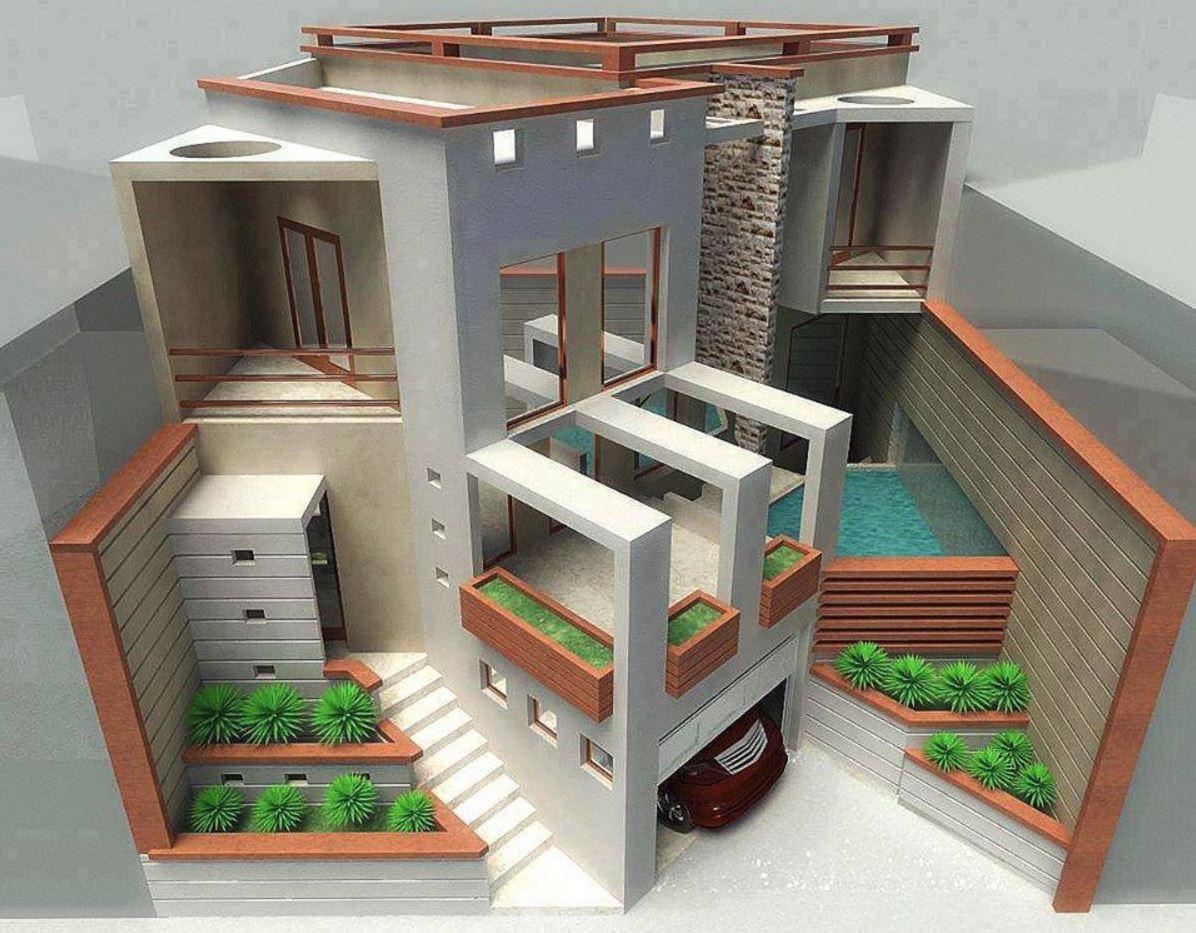 Maquetas de una casa de un terreno de 300 m2 for Maquetas de apartamentos modernos