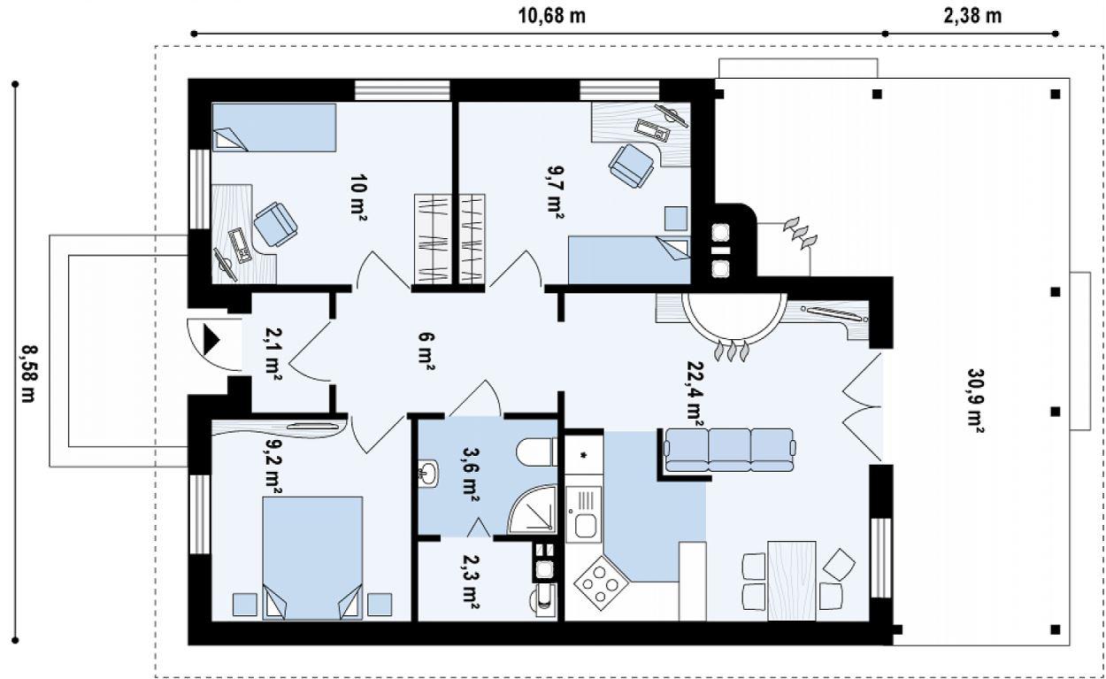 Modelo de casa de un piso de 64 metros cuadrados