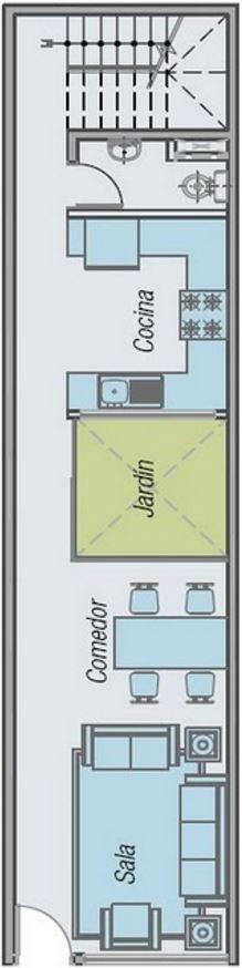 Modelo de casa unifamiliar 2 pisos con medidas 6 x 25