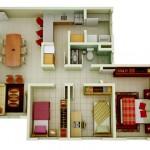 Modelo de casas de 90m2 con planos en 3d