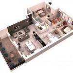 Modelo de departamento en 3d 90m2