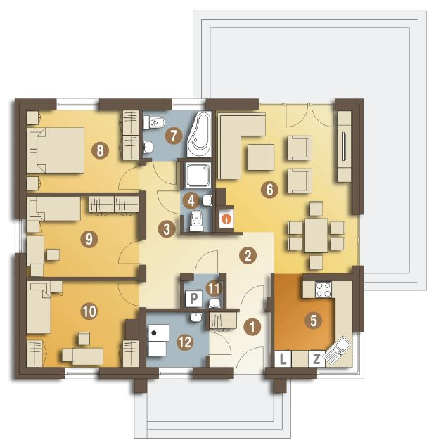 Planos de casas peque as de una planta con 3 habitaciones for Planos de casas pequenas de una planta