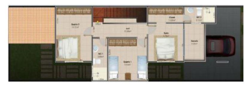 Plano de sala garas dos dormitorio y cocina comedor for Planos de cocina y comedor