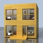 Casa de 6×6 de dos pisos con dos habitaciones cada ambiente detallada