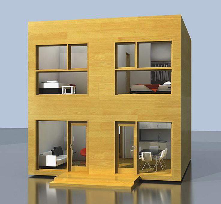 Casa de 6x6 de dos pisos con dos habitaciones cada ambiente detallada