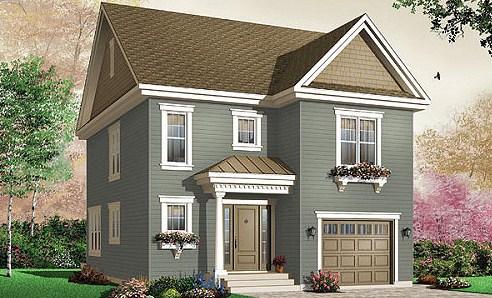 Casas pequeñas de dos pisos estilo americano