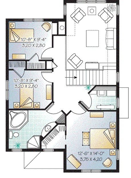 Planos de casas peque as de dos pisos estilo americano for Modelos de casas de dos pisos y sus planos