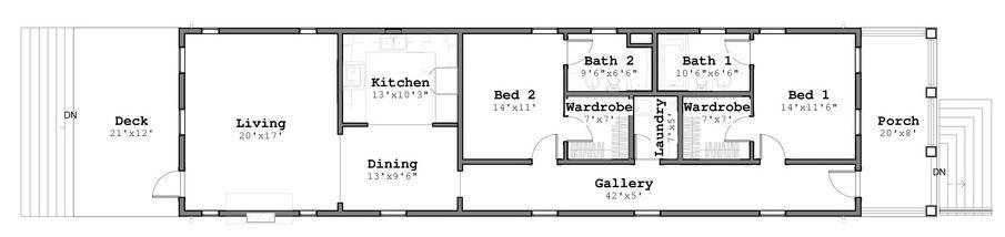 Plano de vivienda en terreno angosto