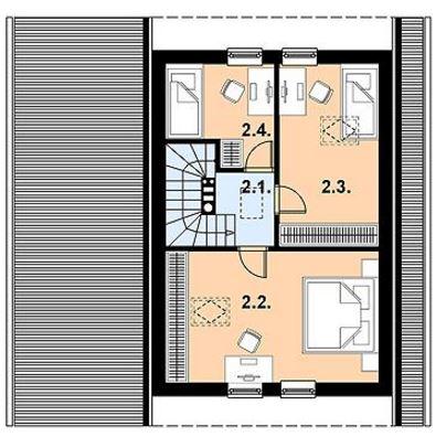 Planos de casa de 72m2 en dos plantas  3 dormitorios