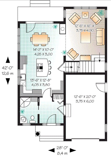 Planos de casas pequeñas de dos pisos estilo americano