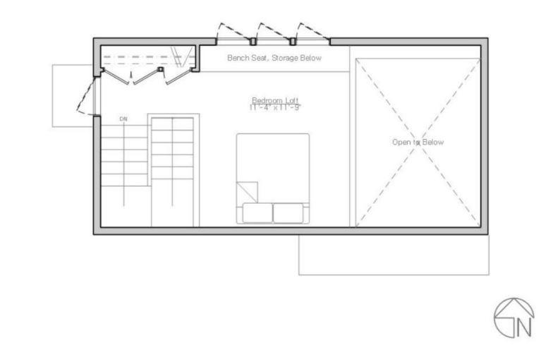 Planos de casas rectangulares de un dormitorio