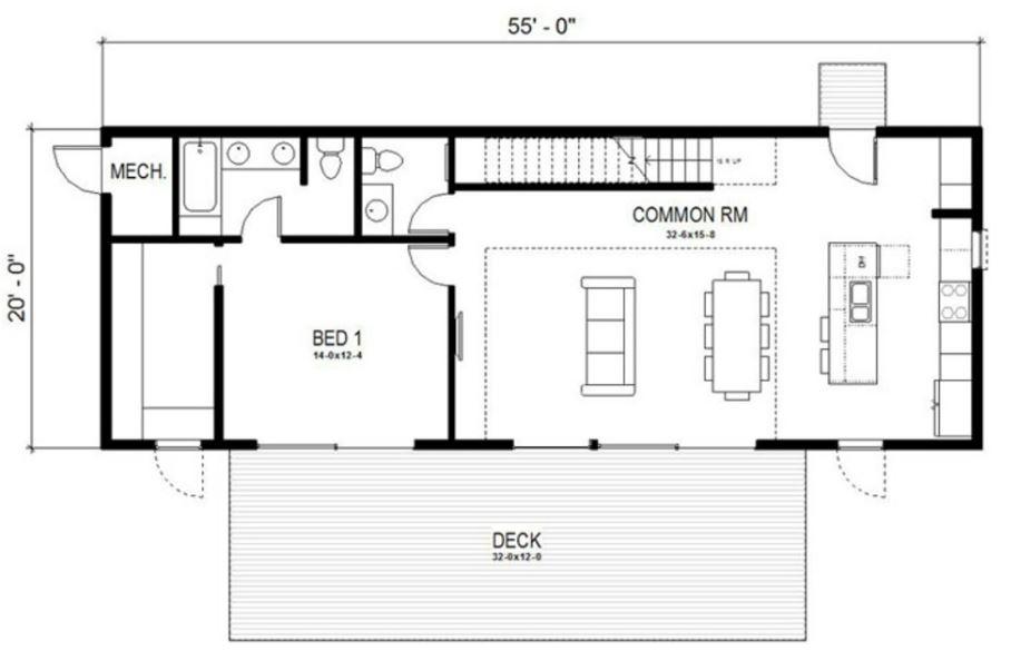 Casas lineales pequeñas de 2 plantas
