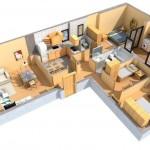 Diseño casa cocina comedor y sala de star adelante y en forma de L para atrás baño y dormitorio