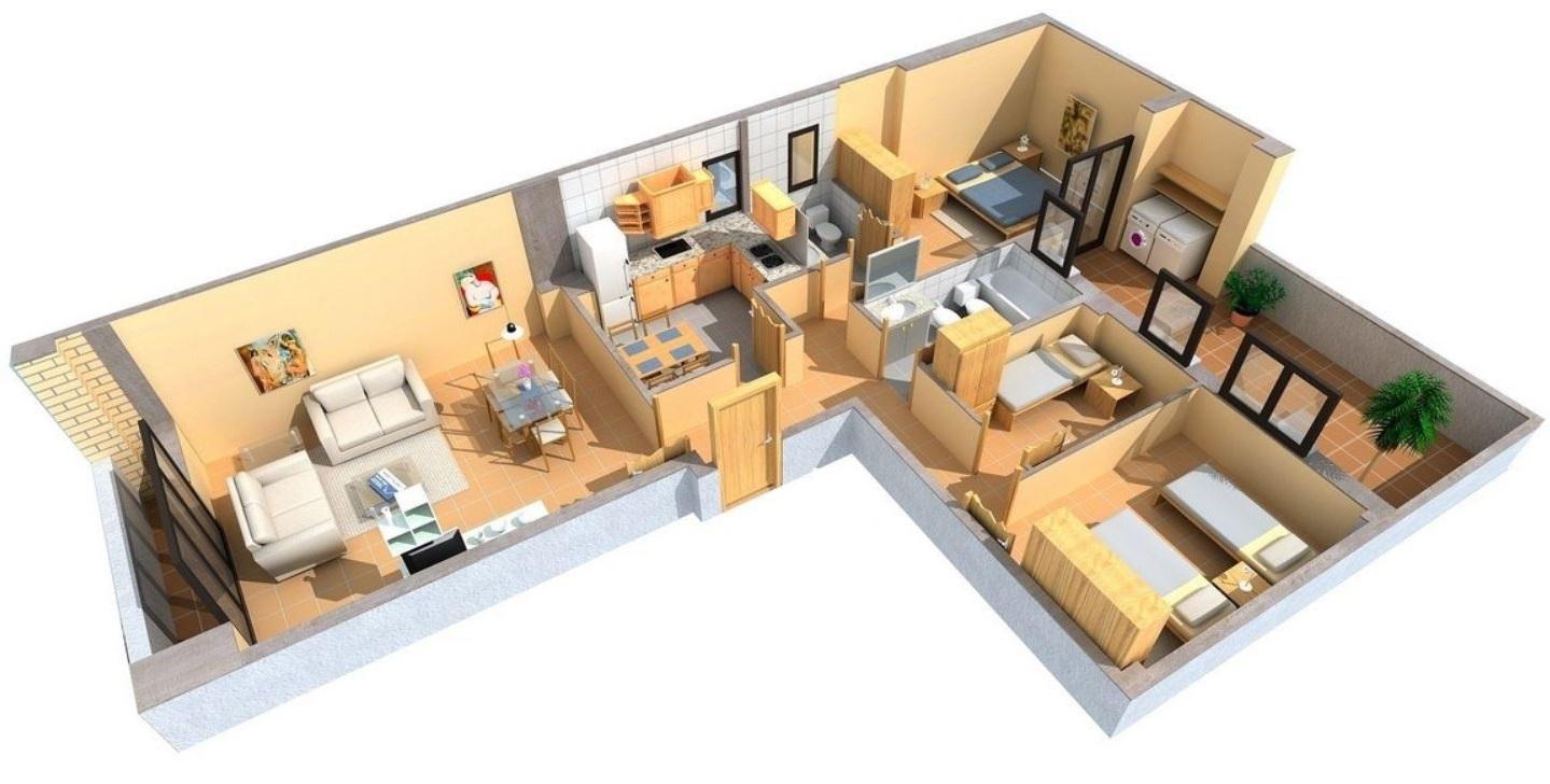 Plano de casa en 3d for Planos de cocina y comedor