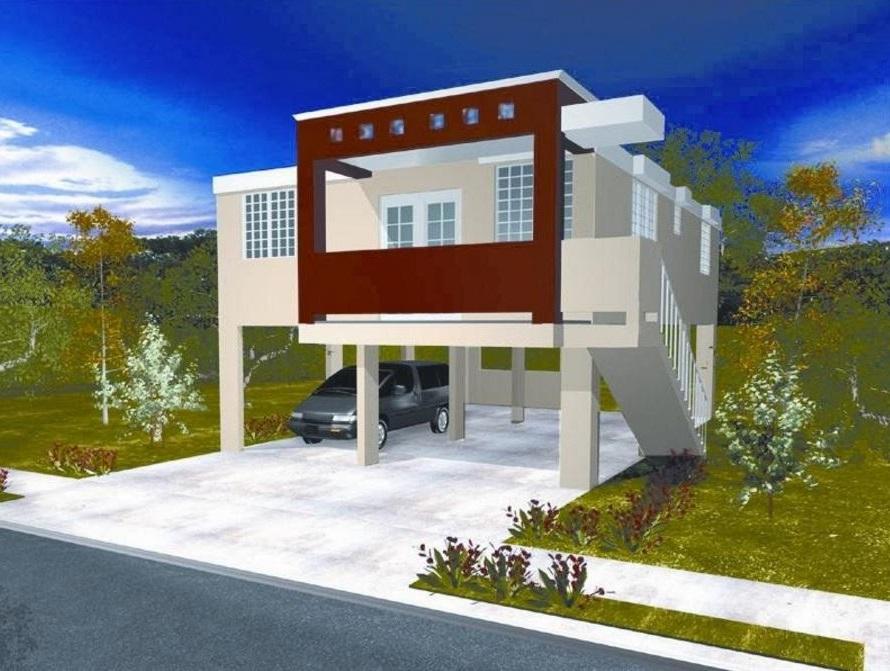 Diseño construcción fachadas 7m frente 3D