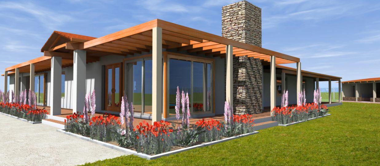 Fachada de casa de una planta con losa reta con corredor