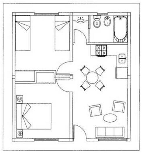 Tipos de planos de 60 metros rectangular for Comedor 30 metros cuadrados
