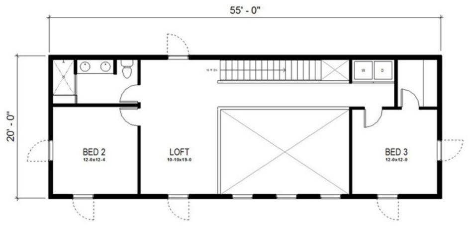 Planos de casas lineales pequeñas de 2 plantas