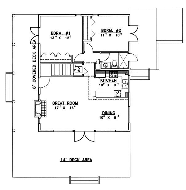 Casa chica de dos pisos con techo liviano y de dos dormitorios