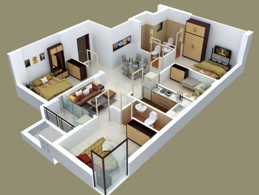 Diseño de departamentos de 90m2