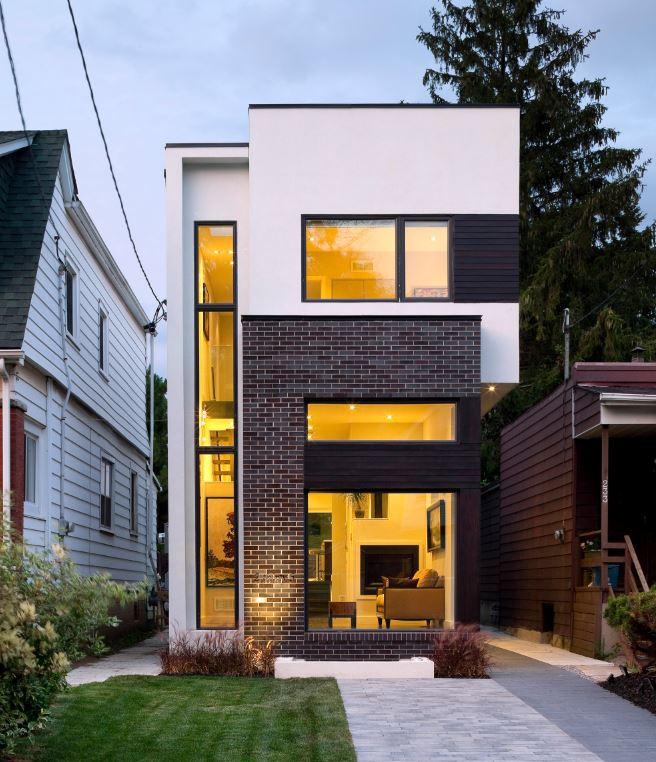 Fachadas de casas modernas de 4 metros de ancho