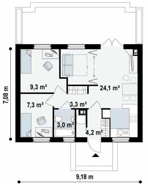 Medidas de una casa con 2 recamaras y baño