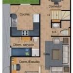 Plano de una casa de 8 metros de frente por 25 de fondo