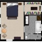 Planos de un dormitorio con su baño de 4×4