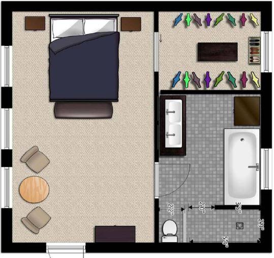 Planos de un dormitorio con su baño de 4x4