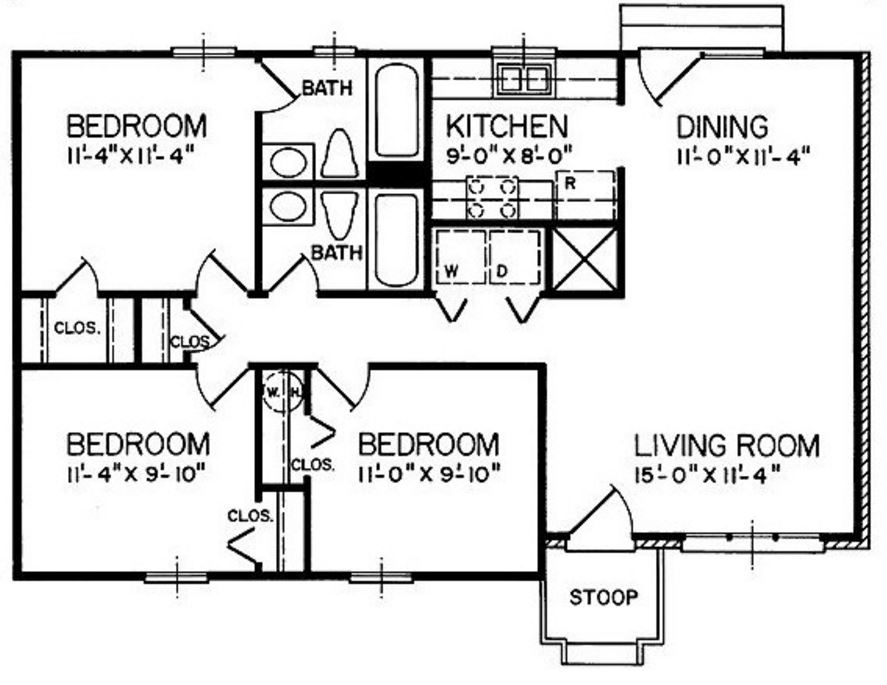 planos-de-villa-campestre-de-tres-dormitorios-y-dos-banos